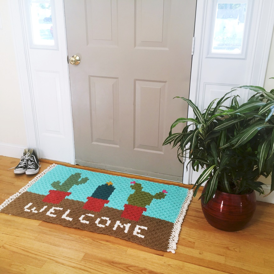Cactus Welcome Rug Stuff Steph Makes